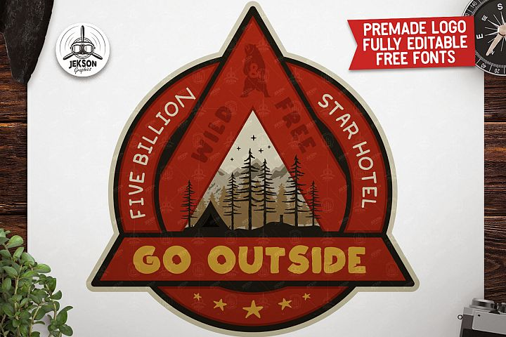 Outdoor Adventure Badge / Vintage Camp Logo Patch SVG. Wild