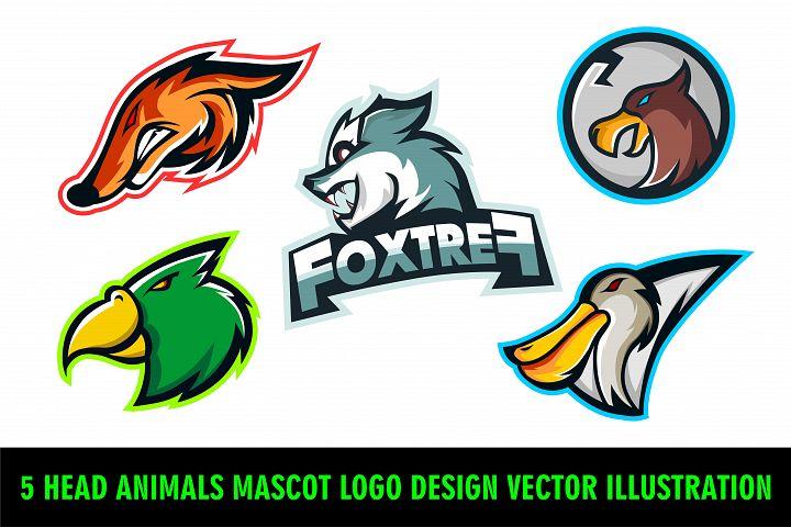 5 Head Animals Mascot Logo Design Vector Illustration