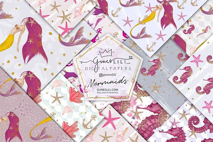 Pink Mermaids Digital Paper Seamless Pattern