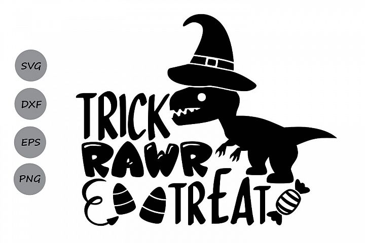 Trick Rawr Treat Svg, Halloween Svg, Halloween Dinosaur Svg.