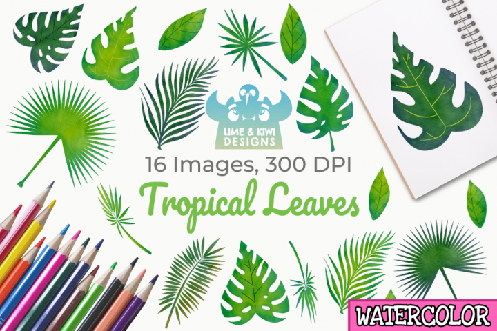 Tropical Leaves Watercolor Clipart, Instant Download