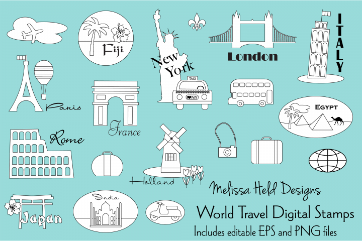 World Travel Digital Stamps Clipart
