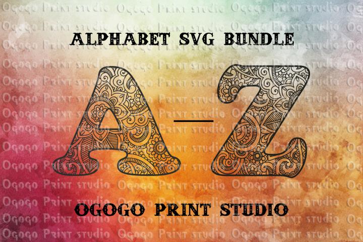Alphabet Bundle SVG, Floral font, Letter Mandala svg