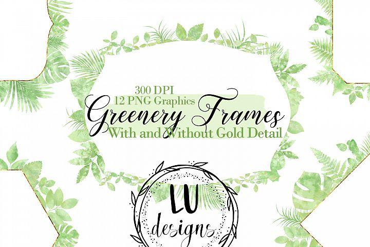 Watercolor Greenery Frames, Botanical Foliage Frames