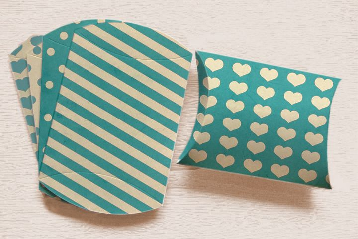 Turquoise Printable Pillow Boxes with Stripes Polka Dots, and Hearts