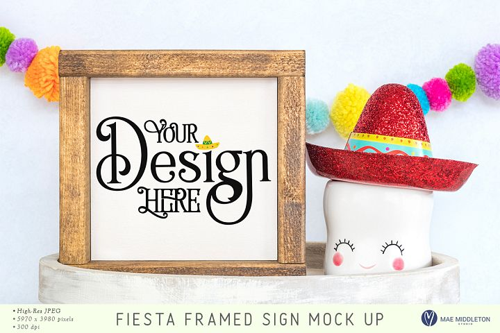 Framed Sign Mock up, styled photo - Fiesta, Cinco de Mayo