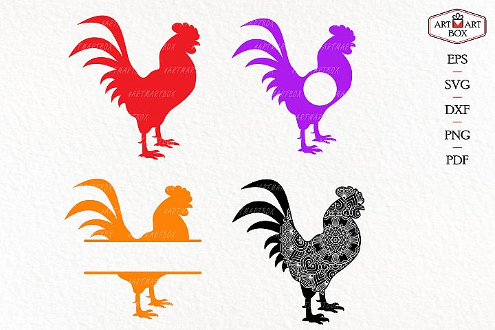 Cool rooster. Frame, monogram, silhouette.