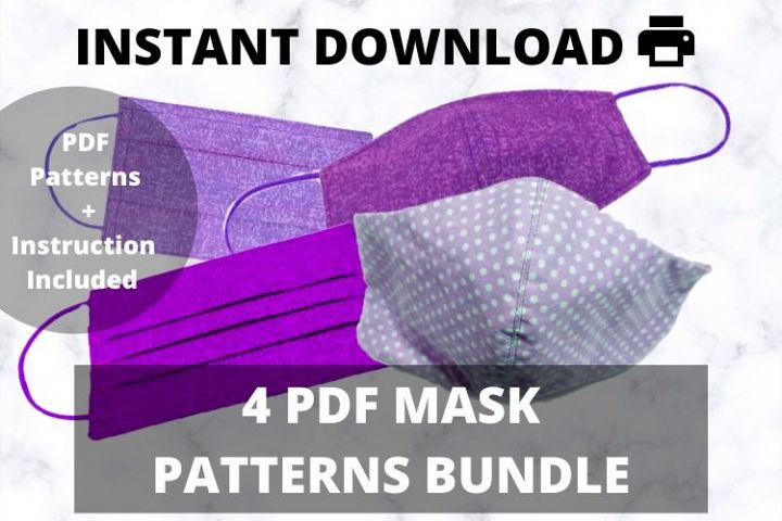 Face Mask Pattern PDF Bundle, Mask Template