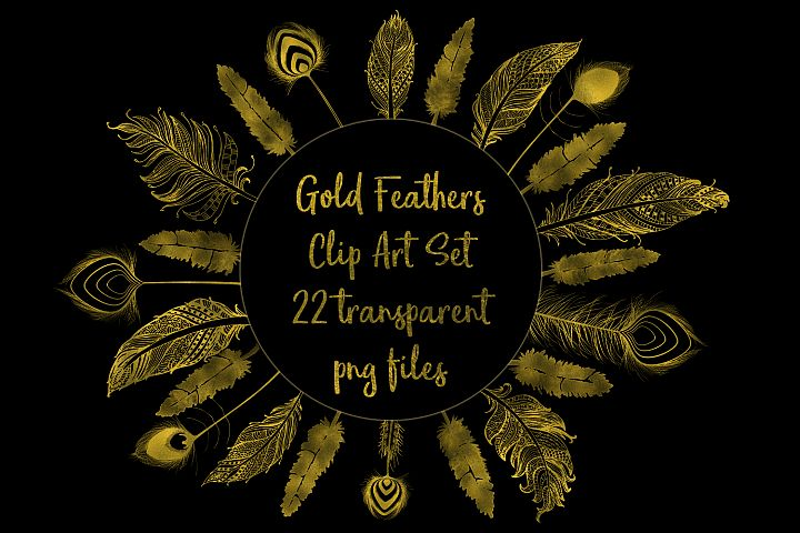 Gold Foil Feather Clip Art, 22 Transparent PNG Files