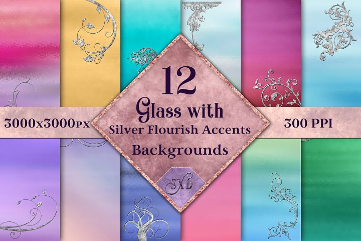 Glass with Silver Flourish Accents Backgrounds - 12 Images