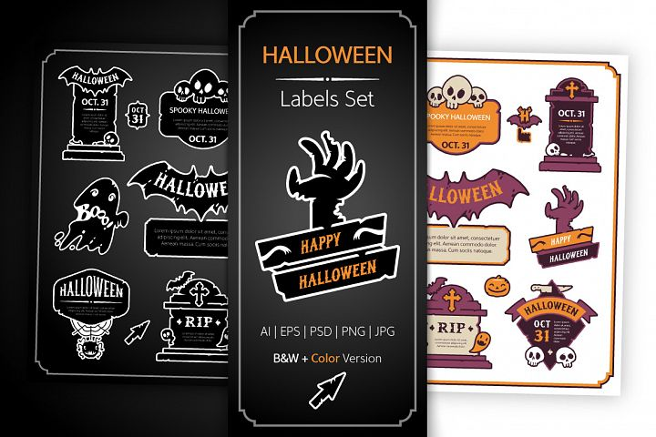 Halloween Design Labels Set