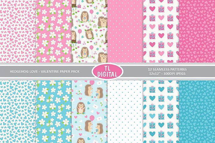 Hedgehog Love Digital Paper Pack - 12 Valentines Patterns