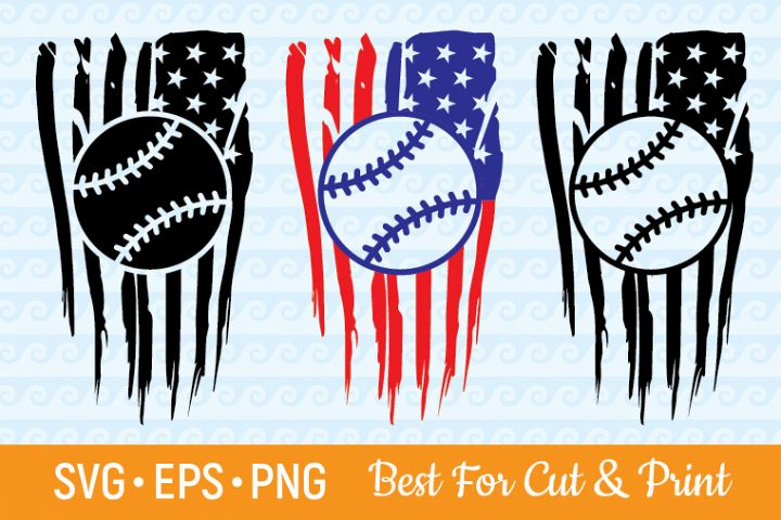 Distressed American Flag Baseball Cutting & Printing file