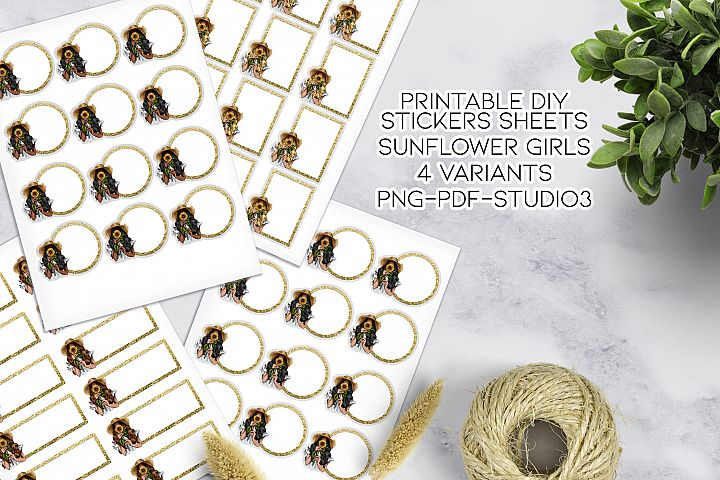 Sunflower Girl Printable Stickers Template
