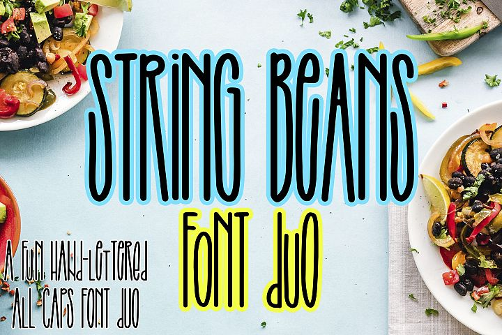 String Beans - A fun hand-lettered all caps font duo