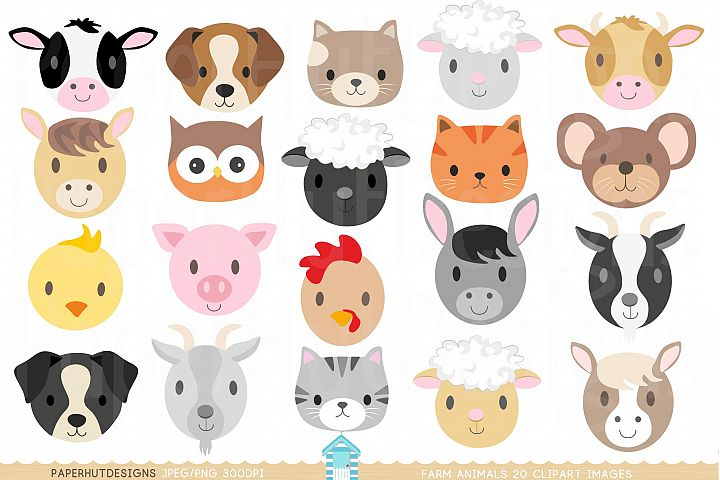 Farm Animal Faces Clipart