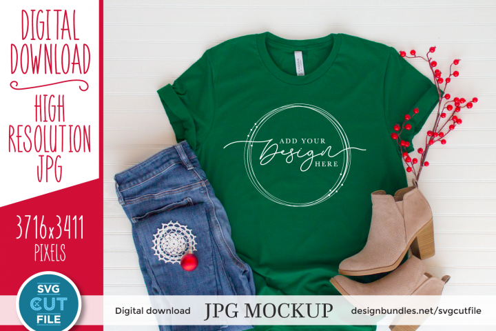 Mockup Bella Canvas 3001, green Xmas Evergreen Shirt Mock up