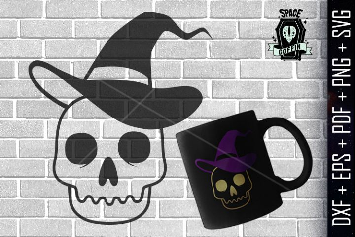 Skull Witch Hat Silhouette Vector DXF / EPS / PDF / PNG