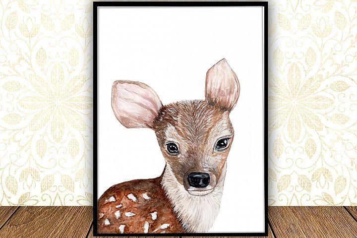 Baby Deer digital print, Forest Animal Print,Woodland animal