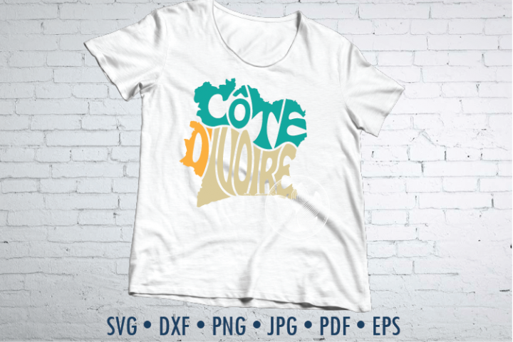 Cote dIvoire Word Art, Svg Dxf Eps Png Jpg, map shape
