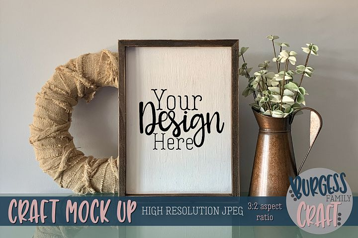 Vertical rustic sign Craft mock up | High Res JPEG
