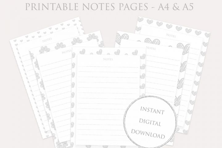 Printable NOTES pages set - Planner Inserts - instant