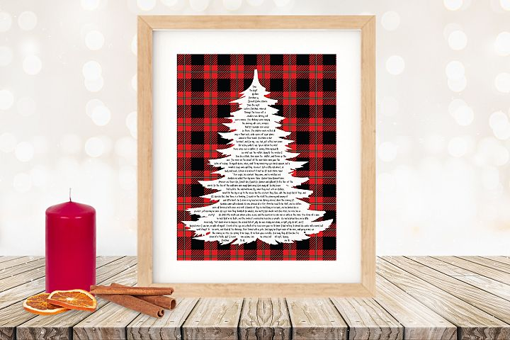 Twas the Night Before Christmas Printable Tree Plaid