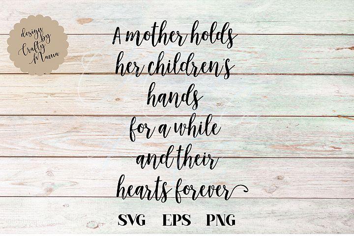 Mother Hold Childrens Hearts svg dxf eps jpg png sublimation