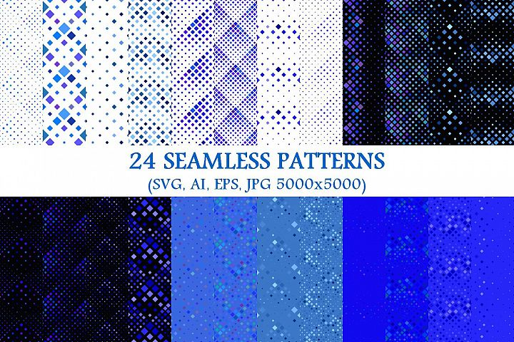 24 Seamless Blue Square Patterns
