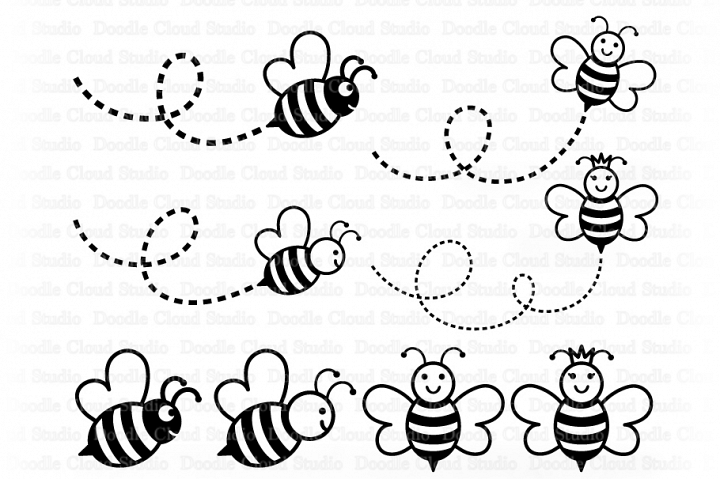 Bee SVG, Cute Bee SVG, Cute Queen Bee Svg, Cute Bee Clipart.