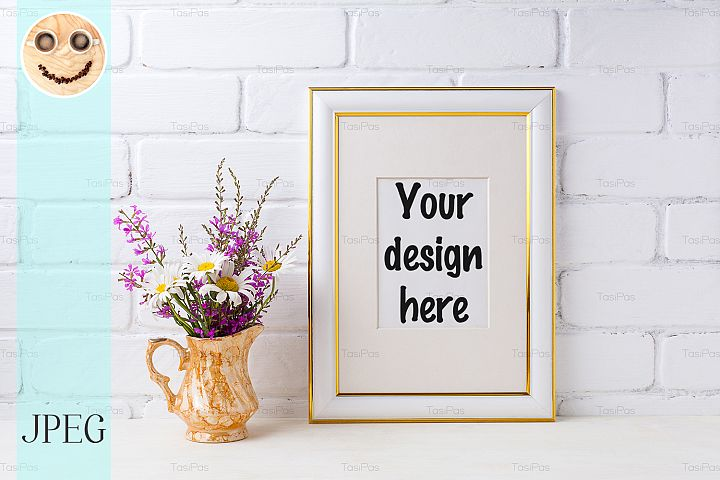Gold decorated frame mockup with chamomile and purple flower