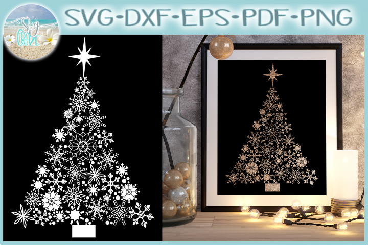 Snowflake Christmas Tree with Star SVG