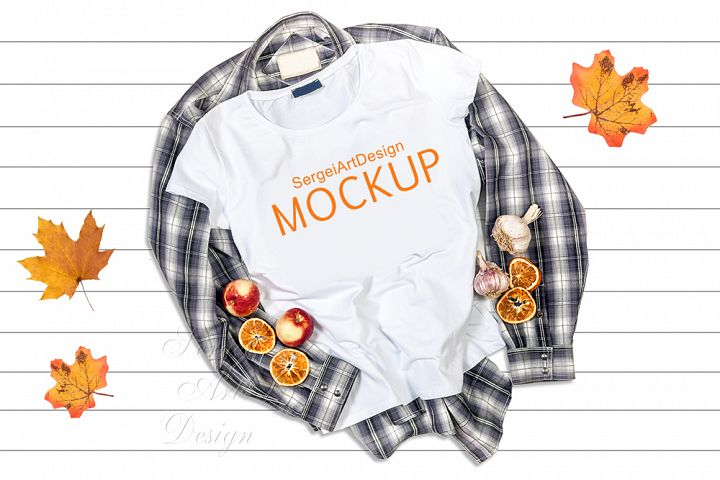 Blank White T-Shirt Halloween Fall Apparel Mockup