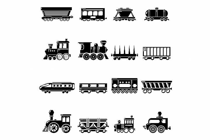 Railway carriage icons set, simple style