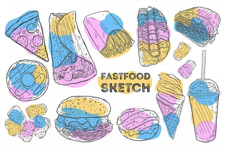 Fastfood sketch set