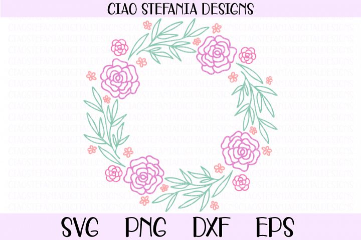 Flowers Wedding Wreath SVG Cut File