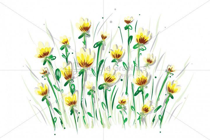 Yellow Flowers - Freehand Artsitic Floral Design