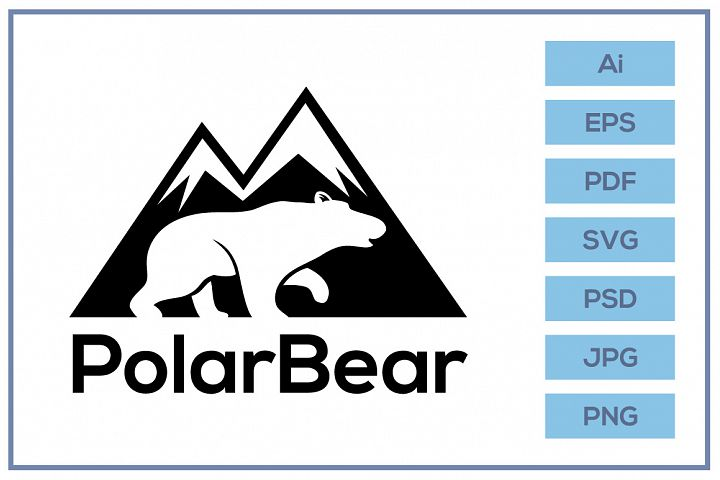 Vector of polar bear with mountain background