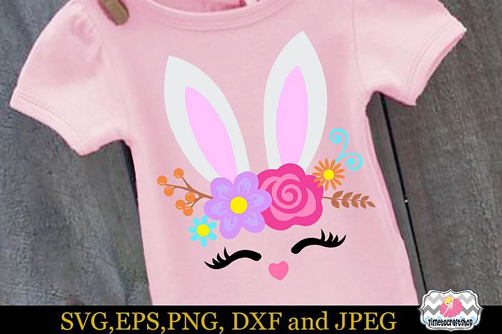 SVG, Dxf, Eps & Png Easter Bunny Smiling Face, Bunny Roses