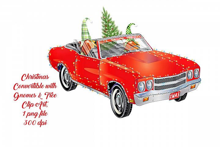 Christmas Convertible Car with Scandia Nordic Gnomes & Tree