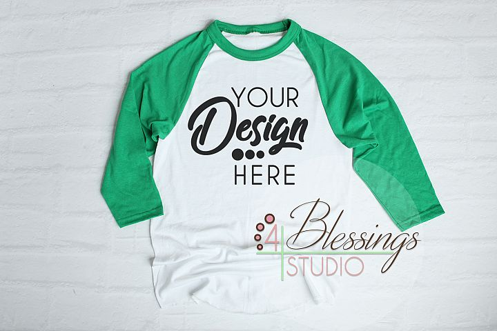 Raglan Shirt Mockup - Baseball TShirt White and Green Raglan