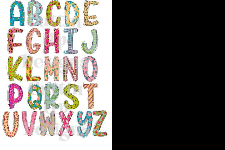Funky Hand Lettered PNG Alphabet Set
