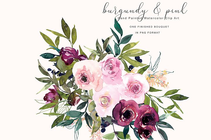 Watercolor Burgundy and Pink Flower Clipart