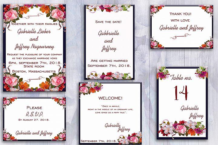 Flower Wedding Invitation Suite, invitation cards, 50OFF