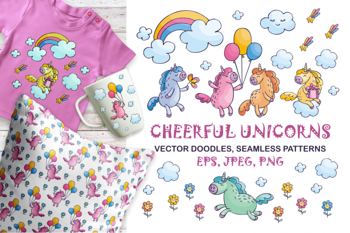 Cheerful unicorns. Vector doodles and seamless patterns.