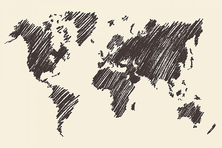 World map contour
