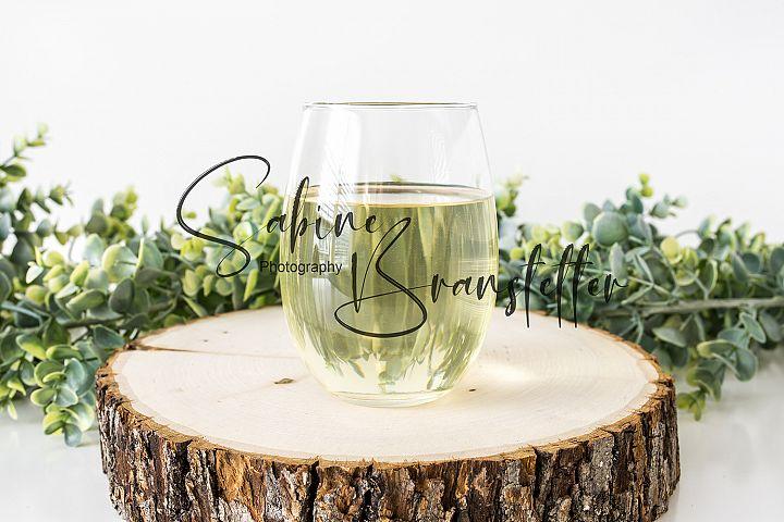 Styled Stock Photography Stemless Wine Glass Mockup