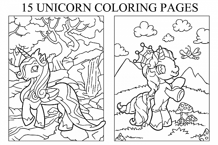 Coloring Pages For Kids - 15 Unicorn Pages