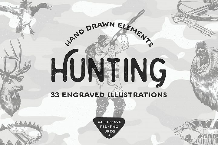 Hunting hand drawn engraved objects