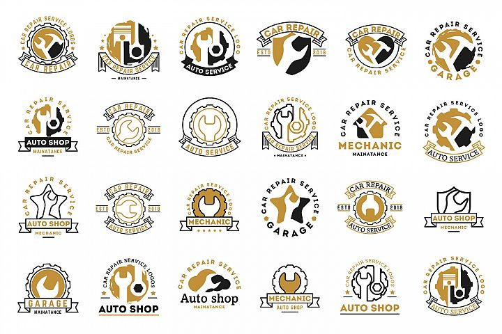 Automobile, car repairing service logos